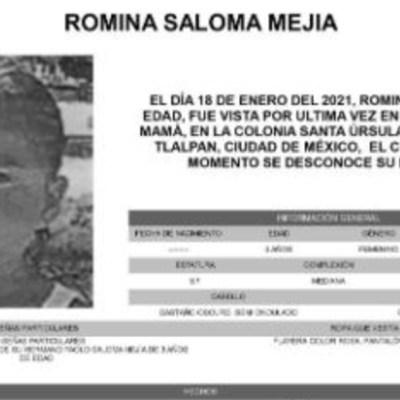 Activan Alerta Amber para localizar a Romina Saloma Mejía