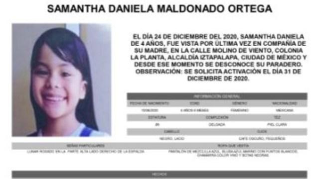 Activan Alerta Amber para localizar a Samantha Daniela Maldonado Ortega