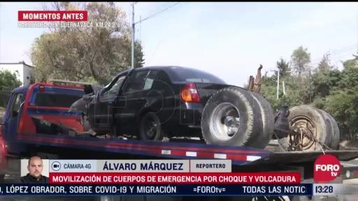 se registra volcadura en carretera mexico cuernavaca