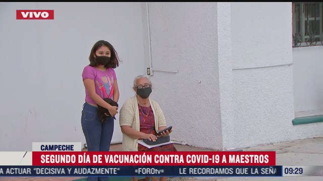 segundo dia de vacunacion contra covid 19 a maestros en campeche