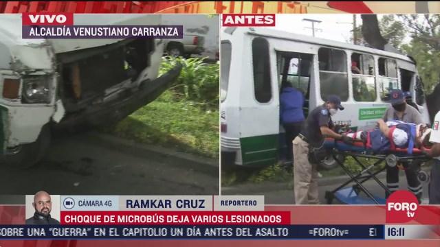 varios pasajeros resultan lesionados tras choque de microbus con arbol en la venustiano carranza