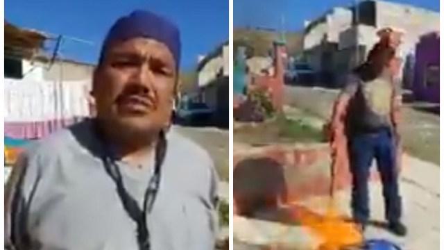 Daniel Guadarrama, camillero del ISSSTE en Nayarit, t quemó su uniforme en protesta por no recibir la vacuna contra COVID-19