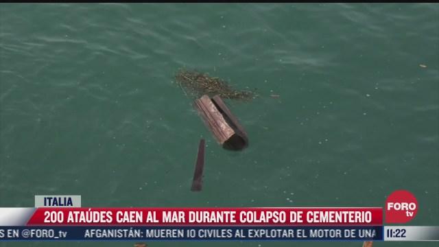 200 ataudes caen al mar al colapsar panteon en italia