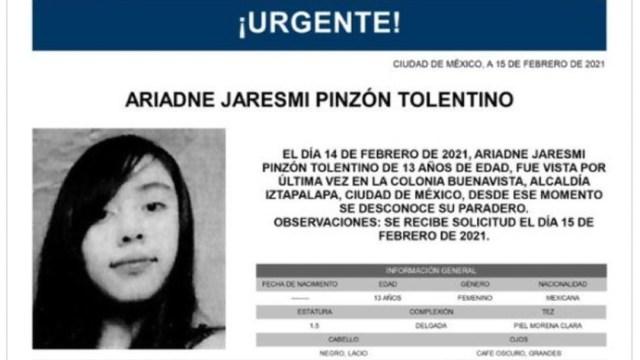 Activan Alerta Amber para localizar a Ariadne Jaresmi Pinzón Tolentino
