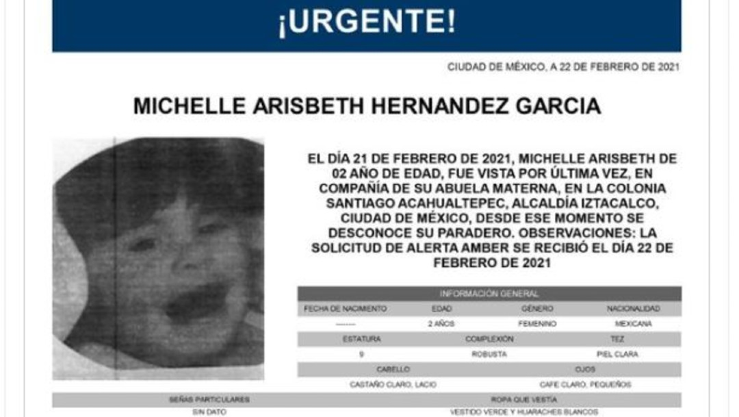 Activan Alerta Amber para localizar a Michelle Arisbeth Hernández García, de dos años de edad