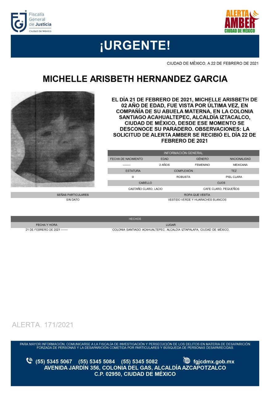 Activan Alerta Amber para localizar a Michelle Arisbeth Hernández García