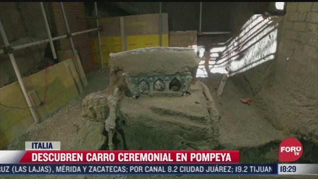 descubren carro ceremonial en pompeya en italia