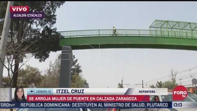 mujer se arroja de un puente en calzada de zaragoza cdmx