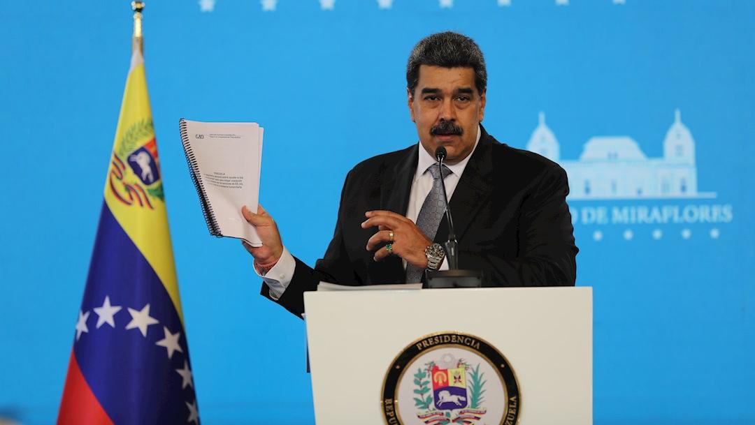 El presidente de Venezuela, Nicolás Maduro, habla en rueda de prensa desde el Palacio de Miraflores, en Caracas