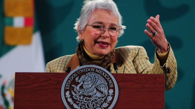 Olga Sánchez Cordero, durante su participación en la conferencia mañanera de este jueves