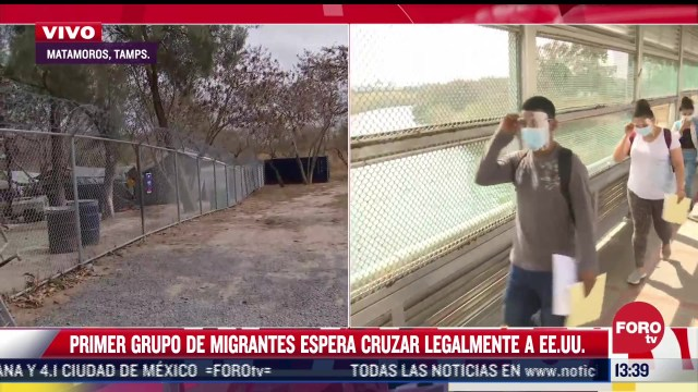 primer grupo de migrantes en espera de cruzar a eeuu para solicitar asilo