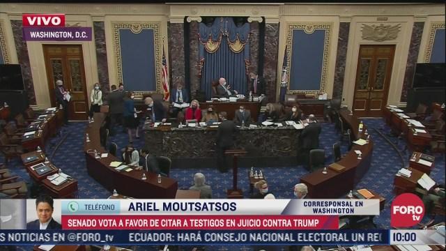 senado de eeuu vota a favor de citar a testigos en juicio contra trump