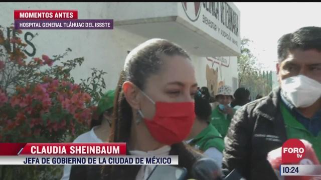 sheinbaum visita el hospital general de tlahuac donde se vacuna a adultos mayores