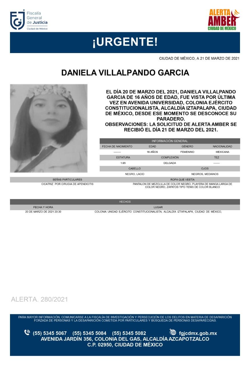 Activan Alerta Amber para localizar a Daniela Villalpando García
