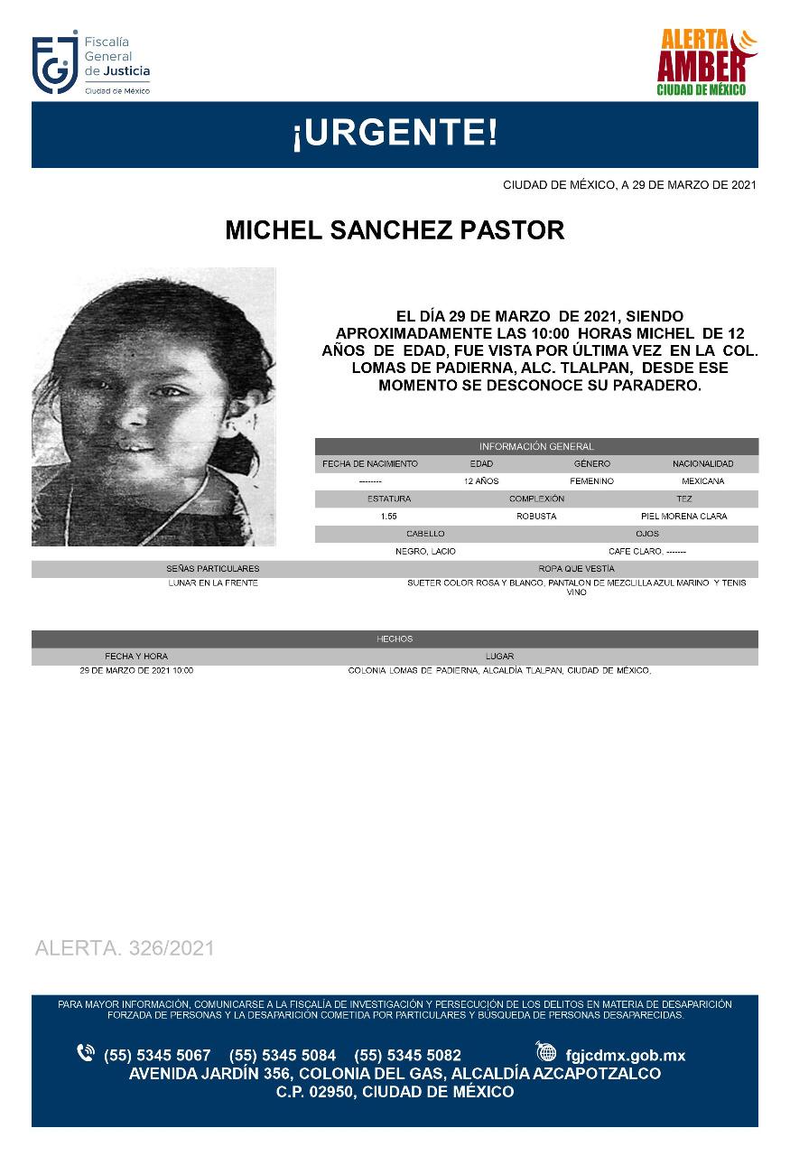 Activan Alerta Amber para Michel Sánchez Pastor