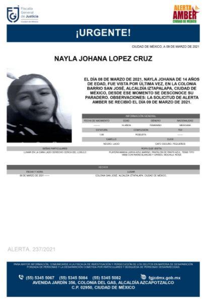 Activan Alerta Amber para localizar a Nayla Johana López Cruz