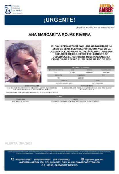 Activan Alerta Amber para localizar a Ana Margarita Rojas Rivera