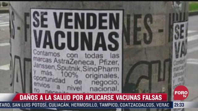 aplicacion de vacunas covid apocrifas podrian causar la muerte