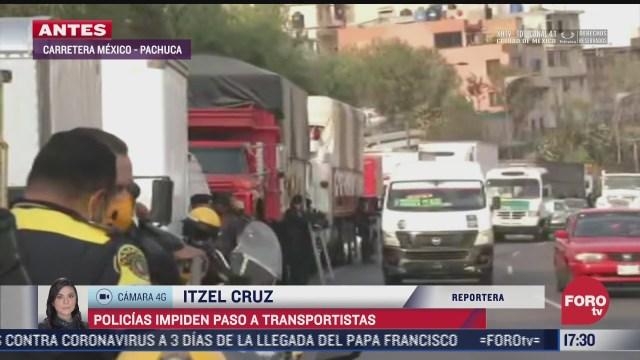 elementos de seguridad del estado de mexico impiden paso de transportistas