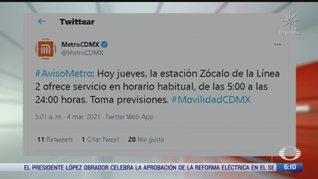 estacion del metro zocalo ofrece servicio con horario habitual