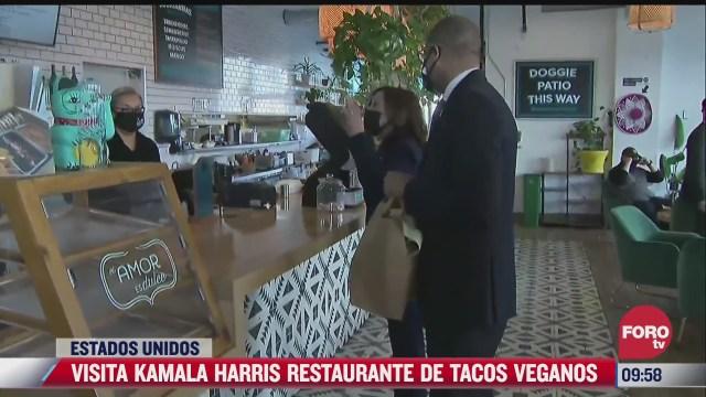 kamala harris vicepresidenta de eeuu visita restaurante de tacos veganos
