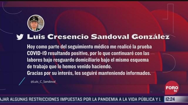 luis cresencio sandoval titular de sedena nuevamente positivo a covid