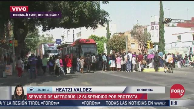 suspenden servicio de l2 del metrobus en estas estaciones por un bloqueo