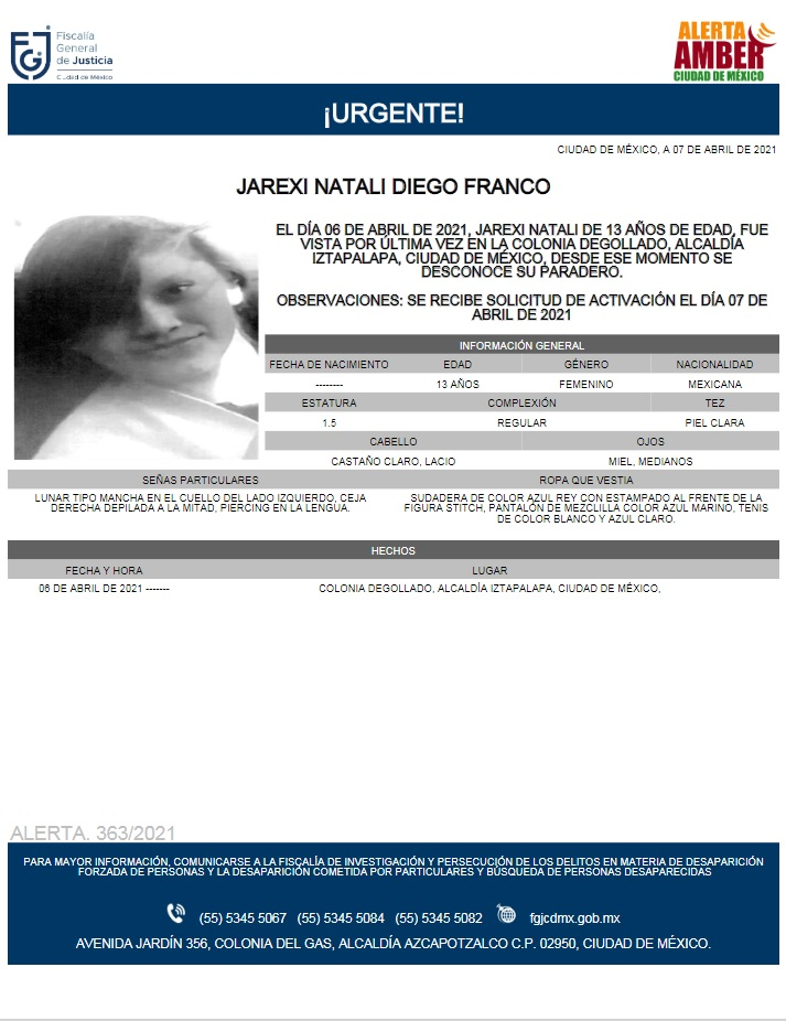 Activan Alerta Amber para localizar a Jarexi Natali Diego Franco