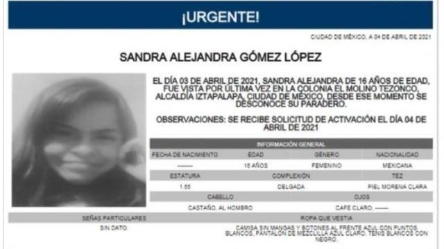 Activan Alerta Amber para localizar a Sandra Alejandra Gómez López