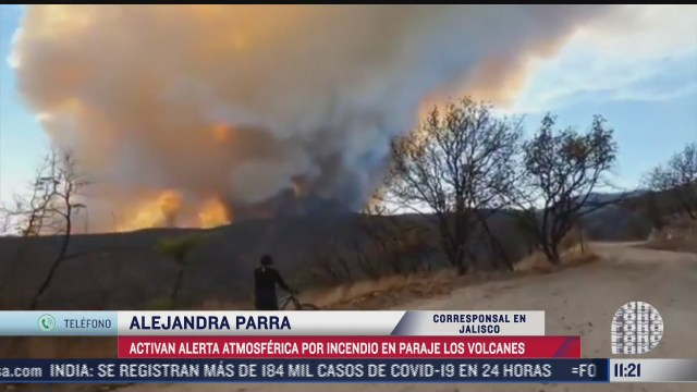 activan alerta atmosferica por incendio forestal en paraje los volcanes
