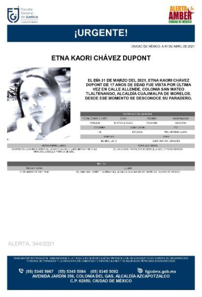 Activan Alerta Amber para localizar a Etna Kaori Chávez Dupont
