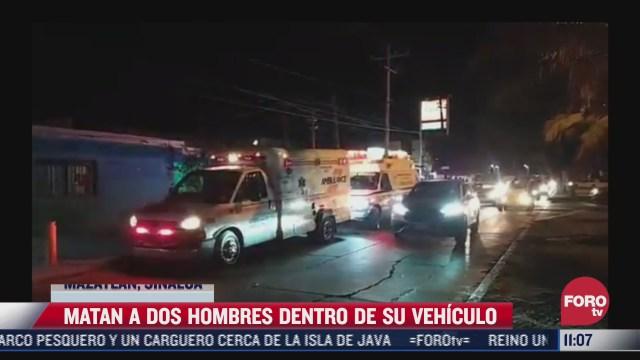 asesinan a balazos a dos hombres a bordo de auto en mazatlan