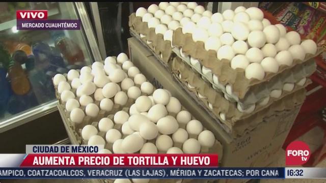aumenta precio de la tortilla y huevo