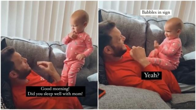 Bebé intenta hablar con su papá a través de lenguaje de señas y se viraliza