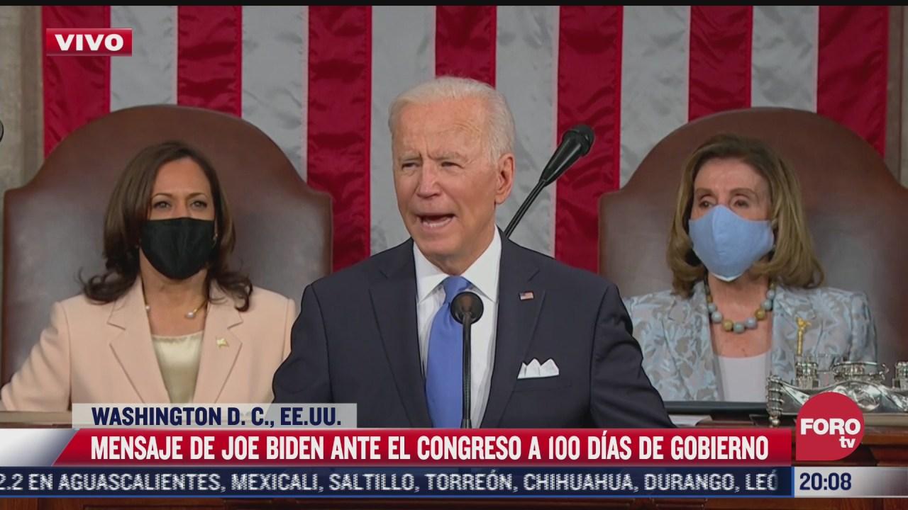 biden emite mensaje ante el congreso a 100 dias de gobierno