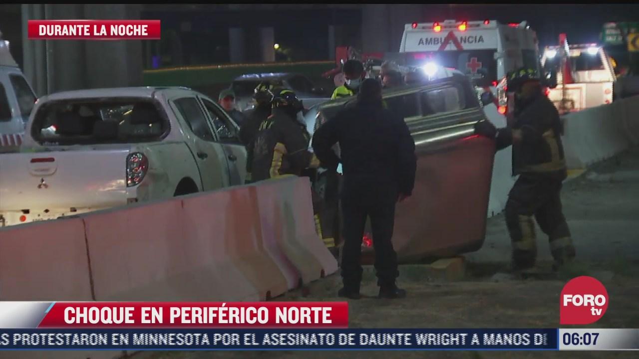 choca camioneta contra muro de contencion del periferico norte cdmx