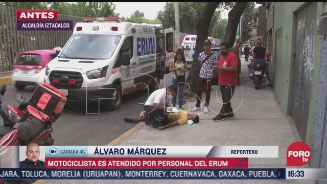 conductor atropella a motociclista y escapa en alcaldia iztacalco