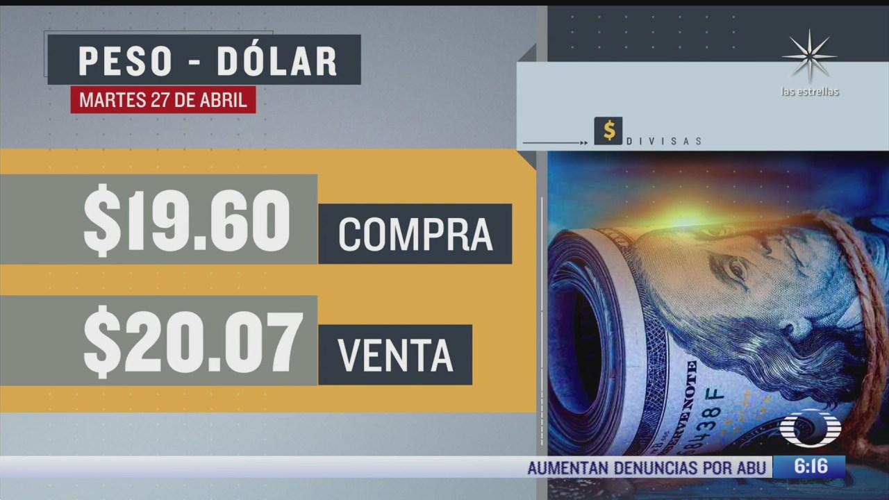 el dolar se vendio en 20 07 en la cdmx del 27 de abril del