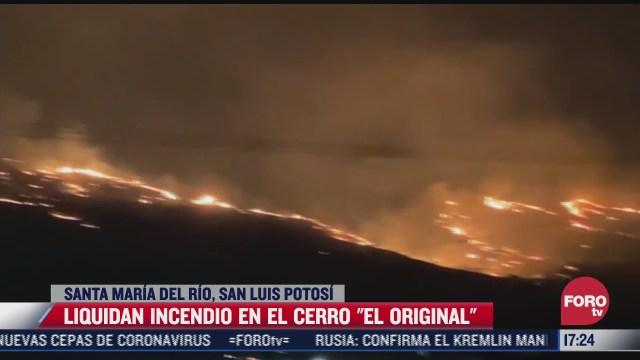 extinguen el incendio forestal en el cerro el original