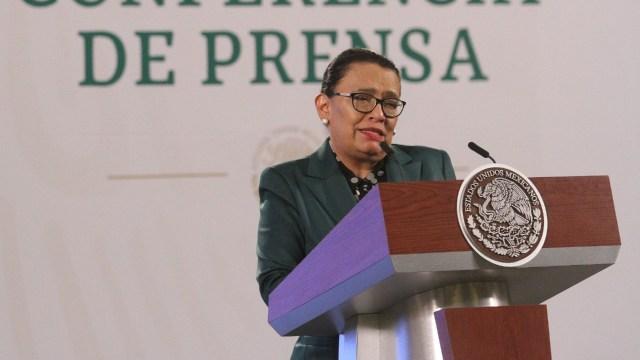 La secretaria de Seguridad y Protección Ciudadana, Icela Rodríguez, en conferencia de prensa matutina encabezada por el presidente Andrés Manuel López Obrador