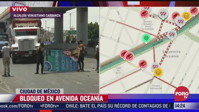 manifestantes bloquean avenida oceania en cdmx
