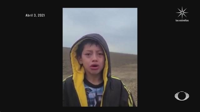 nino abandonado en desierto y ayudado por patrulla fronteriza habla con su tio