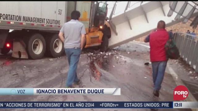 no hay lesionados por desplome de puente peatonal en carretera san luis potosi