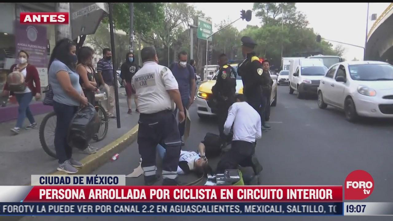 persona es arrollada por ciclista en circuito interior de cdmx