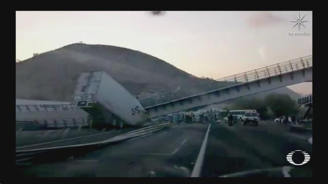puente peatonal cae sobre trailer en san luis potosi