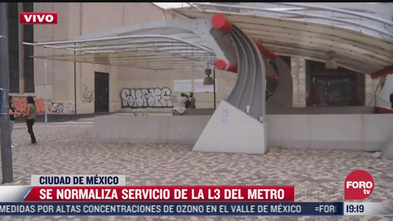 se normaliza servicio de la l3 del metro de cdmx