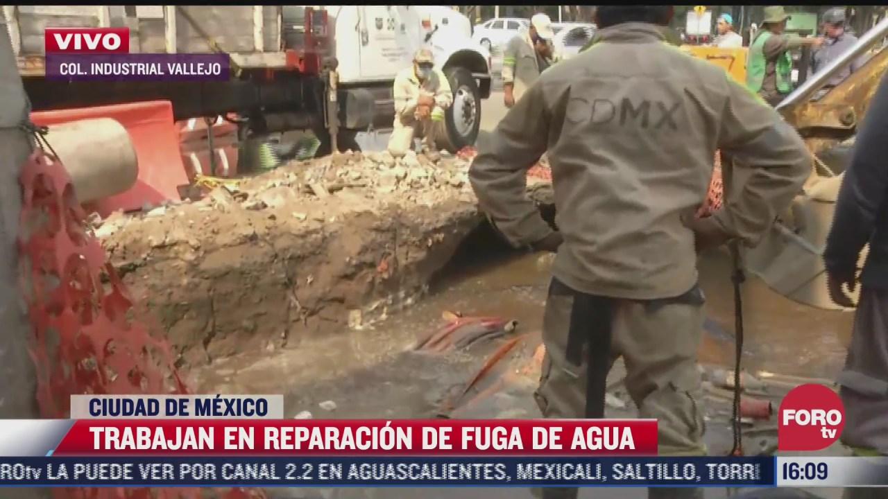 trabajan para reparar fuga de agua en colonia industrial vallejo cdmx