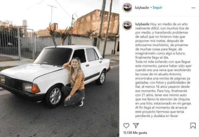 Joven argentina compró el auto de sus sueños y recibe burlas