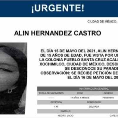 Activan Alerta Amber para localizar a Alin Hernández Castro