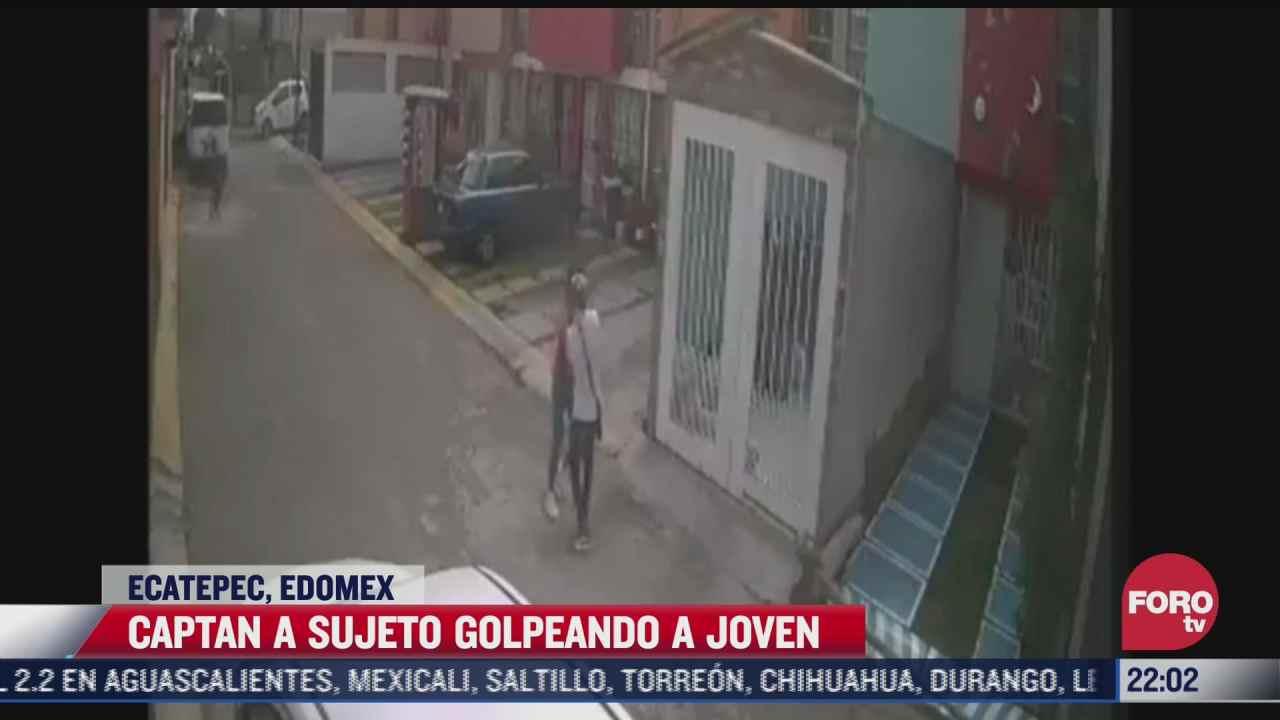 captan a sujeto golpeando a joven en ecatepec